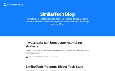 Screenshot of Blog similartech.com - SimilarTech Blog - captured Aug. 7, 2018
