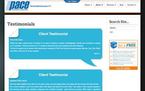 Screenshot of Testimonials Page pacetechnical.com - Pace Technical Services - Testimonials | Pace Technical Services - captured Nov. 1, 2014