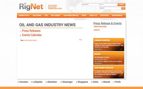 Screenshot of Press Page rig.net - RigNet News & Events | Remote & Offshore Communications RigNet - captured Oct. 9, 2014