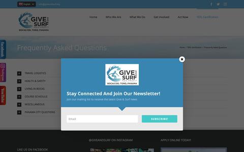 Screenshot of FAQ Page giveandsurf.org - TEFL Panama: Teach English as a Foreign Language Panama | Give and Surf Non-Profit • Bocas del Toro, Panama - captured July 19, 2018