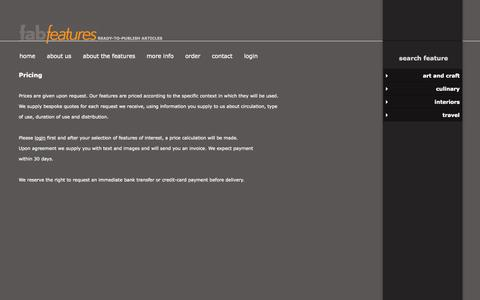 Screenshot of Pricing Page fab-features.com - Pricing - captured Oct. 5, 2014