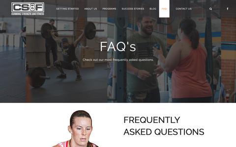 Screenshot of FAQ Page cummingstrengthandfitness.com - FAQ | Cumming Strength & Fitness - captured Oct. 21, 2018