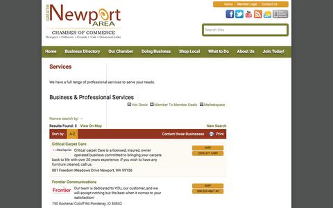 Screenshot of Services Page newportareachamber.com - Business & Professional Services - Greater Newport Area Chamber of Commerce, WA - captured Feb. 2, 2016