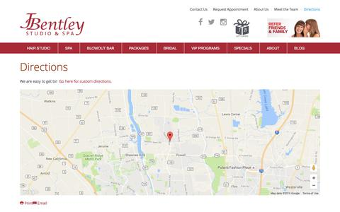 Screenshot of Maps & Directions Page jbentley.com - Directions - captured Sept. 26, 2016