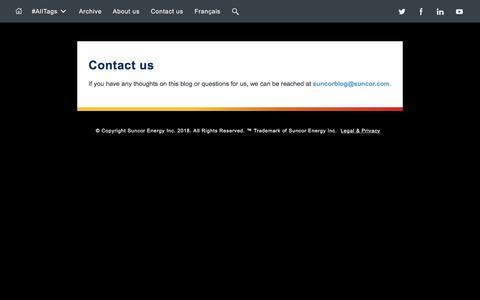 Screenshot of Contact Page suncor.com - Suncor - Contact us - captured Feb. 10, 2018