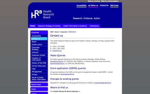Screenshot of Contact Page hrb.ie - Health Research Board: Contact us - captured Jan. 27, 2016