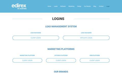 Screenshot of Login Page edirex.com - Login   eDirex - captured Sept. 30, 2018