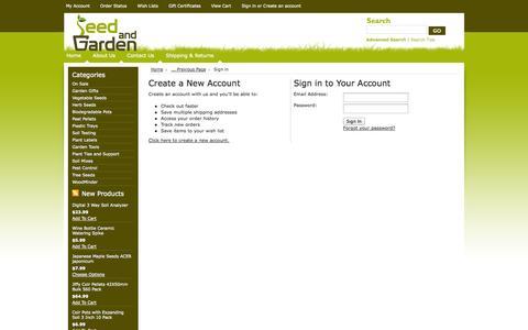 Screenshot of Login Page seedandgarden.com - Seed And Garden LLC - Sign in - captured Oct. 29, 2014