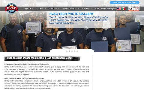 Screenshot of Home Page hvac-tech.com - HVAC Tech   Heating and Air Conditioning School, Chicago IL. - captured May 1, 2018