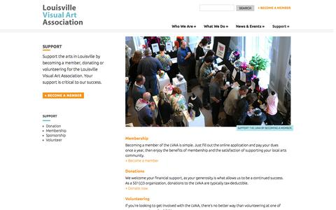 Screenshot of Support Page louisvillevisualart.org - Support - Louisville Visual Art Association - captured Oct. 3, 2014