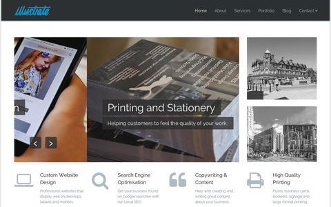 Screenshot of Home Page illustratemedia.co.uk - Web Design & Print • Illustrate - captured Oct. 6, 2014