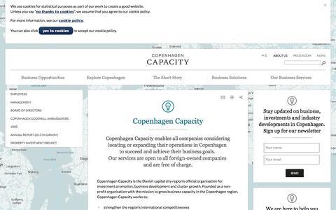 Screenshot of About Page copcap.com - Copenhagen Capacity - contact us - captured Oct. 3, 2014