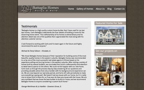 Screenshot of Testimonials Page battagliahomes.com - Battaglia Homes- Custom Home Builder Testimonials - captured Dec. 30, 2015