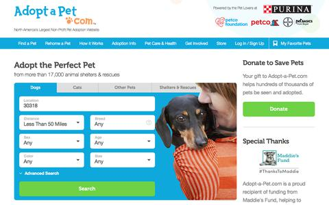 Screenshot of Home Page adoptapet.com - Adopt a dog or cat today!  Search for local pets in need of a home. - captured Nov. 18, 2017
