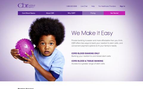 Screenshot of Pricing Page cordblood.com - Cord Blood Stem Cell Banking | Cord Blood Registry | CBR® - captured Nov. 1, 2014
