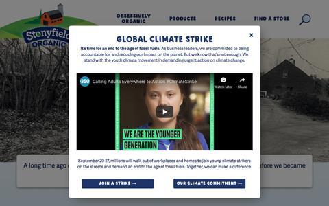 Screenshot of Press Page stonyfield.com - Press - Stonyfield - captured Sept. 22, 2019