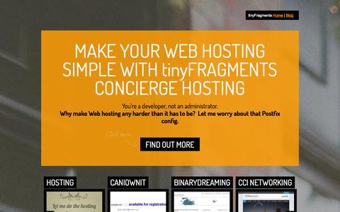 Screenshot of Home Page tinyfragments.com - tinyFragments LLC - captured Oct. 6, 2014