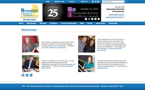 Screenshot of Testimonials Page newmarketchamber.ca - Newmarket Chamber of Commerce - captured Oct. 6, 2014