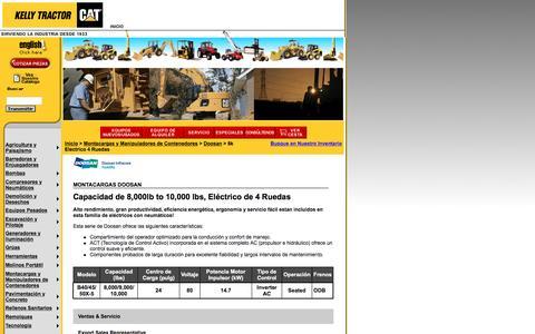 Screenshot of Landing Page kellytractor.com - Monracargas Doosan con Capacidad de 8,000lb to 10,000 lbs, Eléctrico de 4 Ruedas - captured Aug. 12, 2016