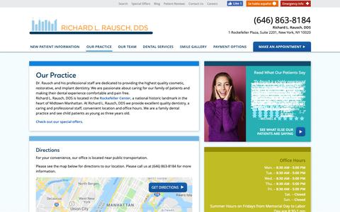 Screenshot of Hours Page midtown-dentist.com - Our Dental Practice - Richard L. Rausch, DDS Rockefeller Plaza NY - captured Nov. 1, 2018