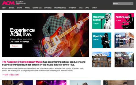 Screenshot of Home Page acm.ac.uk - ACM | Music Courses & Degrees | Music College | Music School - captured Nov. 12, 2018