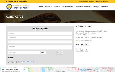 Screenshot of Contact Page icfmindia.com - ICFM India | stock market classes, share market classes, stock market institute in delhi ncr - captured Nov. 4, 2019