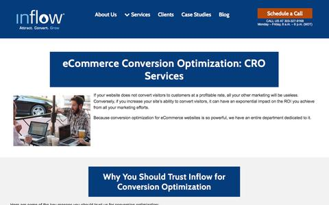 Screenshot of goinflow.com - eCommerce Conversion Optimization (CRO) Services from Inflow - captured July 21, 2018