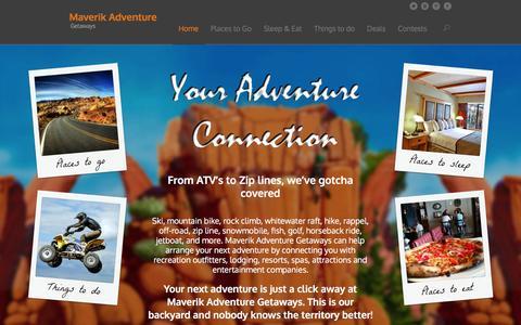 Screenshot of Home Page mavgetaways.com - Maverik Adventure Getaways - captured Feb. 12, 2016