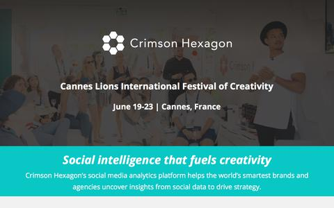 Screenshot of Landing Page crimsonhexagon.com - Crimson Hexagon @ Cannes Lions - captured July 23, 2017
