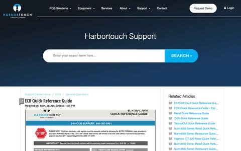 Screenshot of Support Page harbortouch.com - ECR Quick Reference Guide : Harbortouch Support Center - captured Oct. 9, 2018