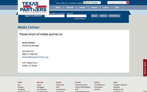 Screenshot of Press Page texaspartnersfcu.org - Media Contact - captured Nov. 30, 2016