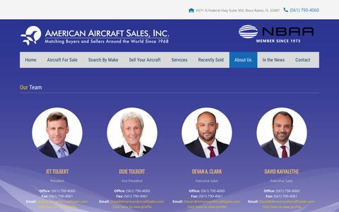 Screenshot of Team Page americanaircraftsales.com - Our Team | American Aircraft Sales - captured Feb. 6, 2016