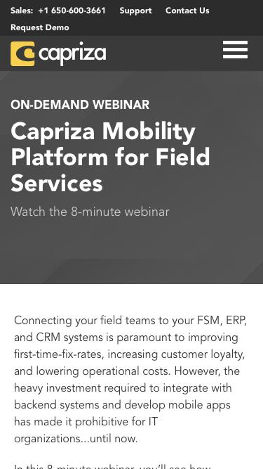 Capriza Mobility Platform for Field Services