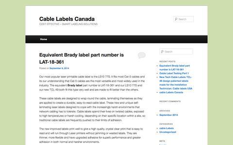 Screenshot of Blog cablelabels.ca - Cable Labels Canada - captured Nov. 1, 2014