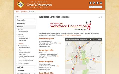 Screenshot of Locations Page mrcog-nm.gov - Locations - www.mrcog-nm.gov - captured Oct. 4, 2014