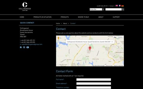 Screenshot of Contact Page collingwoodlighting.com - Contact - captured Oct. 1, 2014