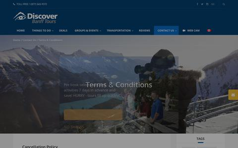 Screenshot of Terms Page banfftours.com - Terms & Conditions - Discover Banff Tours - captured Oct. 9, 2018