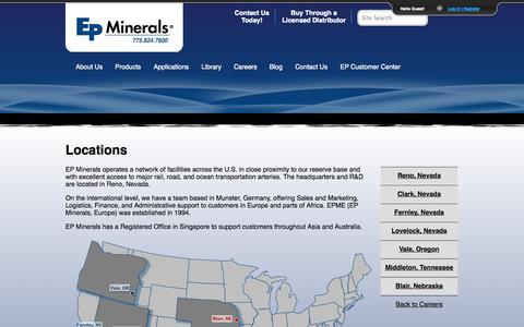 Screenshot of Locations Page epminerals.com - Locations | EP Minerals - captured Sept. 26, 2014