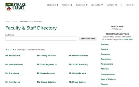 Screenshot of Contact Page strakejesuit.org - Faculty & Staff Directory - Strake Jesuit - captured Oct. 19, 2018