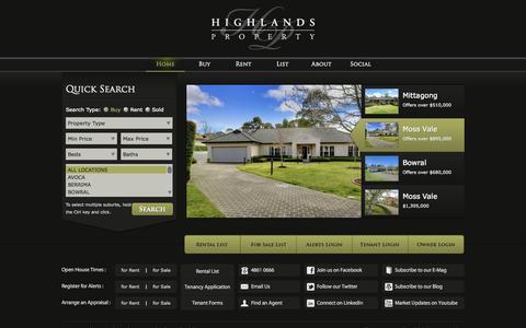 Screenshot of Home Page highlandsproperty.com.au - Highlands Property - captured Sept. 30, 2014