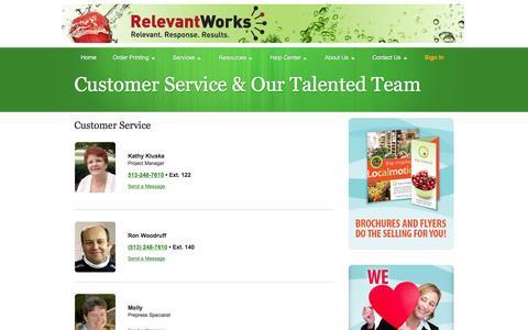 Screenshot of Support Page relevantworks.com - Relevant Works: Customer Service & Our Talented Team - captured Dec. 16, 2016