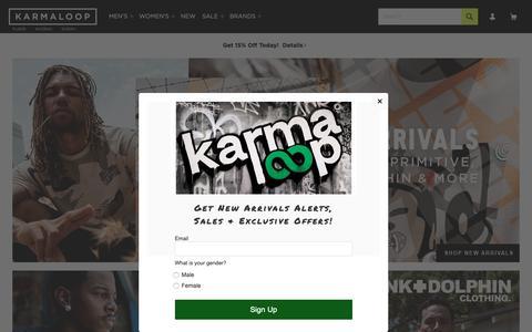 Screenshot of Home Page karmaloop.com - Streetwear Clothing, Footwear, and Accessories - Karmaloop.com - captured May 17, 2019