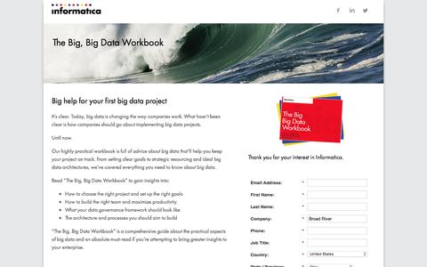 Screenshot of Landing Page informatica.com - The Big, Big Data Workbook - captured June 10, 2016