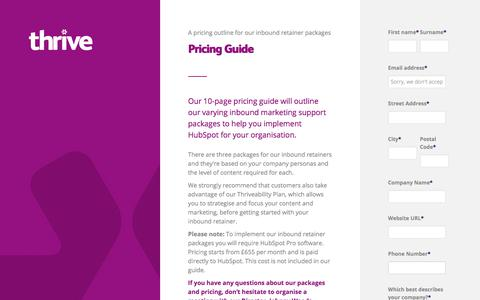 Screenshot of Pricing Page thriveability.co.uk - Pricing Guide | North East HubSpot Partner Agency - captured Aug. 27, 2017