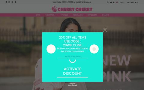 Screenshot of Home Page cherrycherry.com - Handbags, Gift Shop Accessories UK | Cherry Cherry - captured Nov. 4, 2018