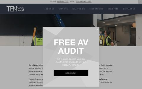 Screenshot of Services Page tenav.co.uk - Services — TEN Audio Visual - captured Sept. 25, 2018