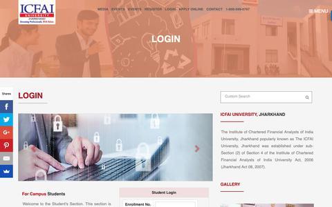 Screenshot of Login Page iujharkhand.edu.in - Login | ICFAI University, Jharkhand | Full-time Campus Programs in Jharkhand - captured Oct. 1, 2018