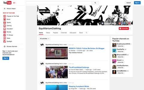 Screenshot of YouTube Page youtube.com - EquillibriumClothing  - YouTube - captured Oct. 22, 2014