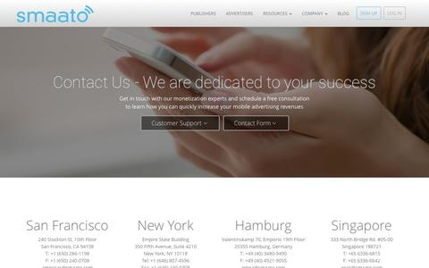 Screenshot of Contact Page smaato.com - Contact Us and Learn More - captured July 15, 2015