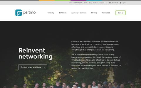 Screenshot of Jobs Page pertino.com - IT & Tech Careers in Los Gatos, CA | Pertino - captured June 16, 2015